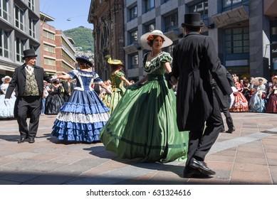 Lugano, Switzerland - April 29, 2017: Venetian masks exhibited  with dances in Lugano on Switzerland
