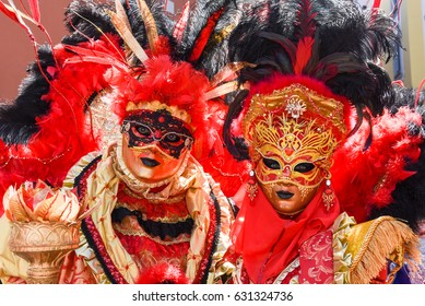 Lugano, Switzerland - April 29, 2017: Venetian masks exhibited  with dances in Lugano on Switzerland