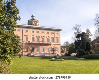 Lugano, Switzerland - April 8, 2015: Villa Ciani inside the botanical garden belonging to the city of Lugano. The park is famous and visited by many tourists every year.
