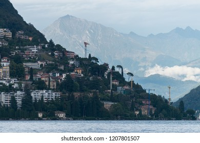 LUGANO, SWITZERLAND - August 13, 2018: The expansion of beautiful Lugano