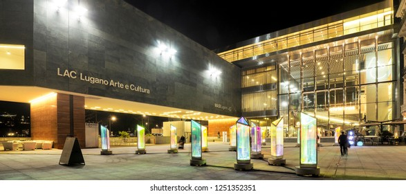 Lugano, Switzerland - December 06, 2018: LAC, cultural building with museum and theater