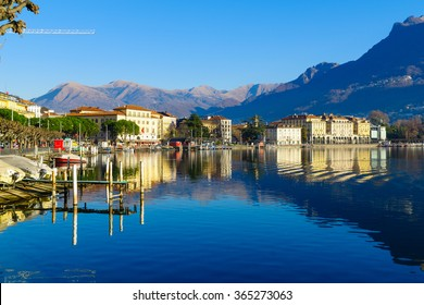 LUGANO, SWITZERLAND - DECEMBER 29, 2015: View of the lakeside promenade, with locals and visitors, in Lugano, Ticino, Switzerland
