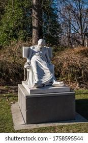 Lugano, Switzerland, Feb 2020, sculpture art - statue - Socrates - in the public park Parco Ciani