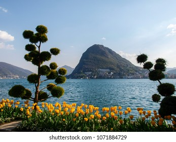 Lugano, Switzerland: Flowered Ciani Park and view of the Gulf of Lugano