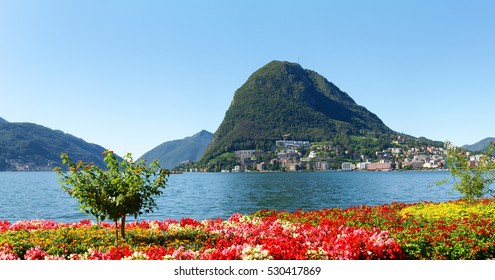 Lugano, Switzerland: Images of the Gulf of Lugano and Ciani park, botanical park of the city.