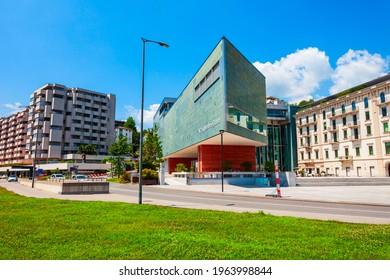 LUGANO, SWITZERLAND - JULY 09, 2019: LAC Lugano Art and Culture Centre or Lugano Arte e Cultura in Lugano city in canton of Ticino, Switzerland