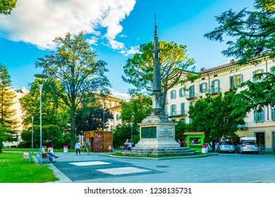 LUGANO, SWITZERLAND, JULY 24, 2017: Independence square in the center of Swiss city Lugano
