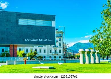 LUGANO, SWITZERLAND, JULY 24, 2017: LAC Lugano Arte e Cultura, a cultural center in Swiss city Lugano