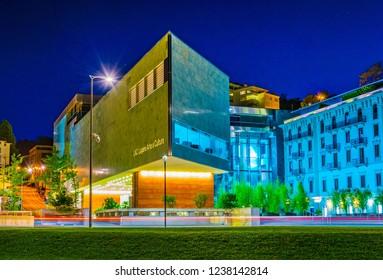 LUGANO, SWITZERLAND, JULY 24, 2017: Night view of LAC Lugano Arte e Cultura, a cultural center in Swiss city Lugano