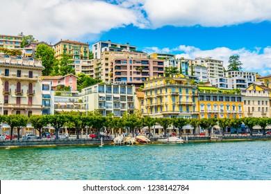 LUGANO, SWITZERLAND, JULY 25, 2017: Old town of Lugano facing the Lugano lake in Switzerland