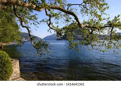Lugano / Switzerland - June 01, 2019: Lugano lake view, Lugano, Switzerland, Europe