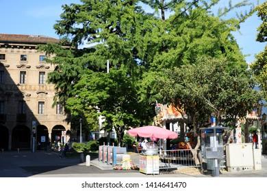 Lugano / Switzerland - June 01, 2019: Lugano City centre view, Lugano, Switzerland, Europe
