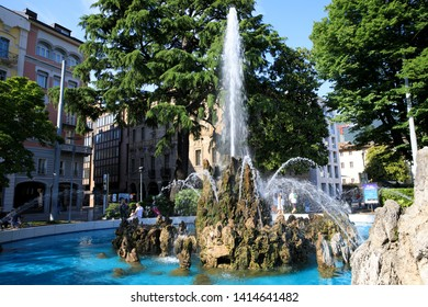 Lugano / Switzerland - June 01, 2019: Lugano City centre with the fountain, Lugano, Switzerland, Europe
