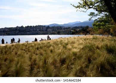 Lugano / Switzerland - June 01, 2019: Lugano Beach, Lugano, Switzerland, Europe
