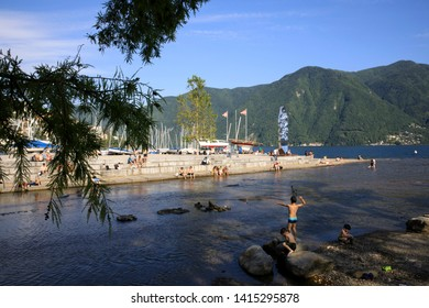 Lugano / Switzerland - June 01, 2019: Lugano Beach, Lugano, Switzerland, Europe