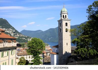 Lugano / Switzerland - June 01, 2019: View from Lugano station area, Lugano, Switzerland, Europe
