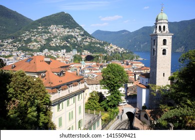 Lugano / Switzerland - June 01, 2019: View from Lugano station area, Lugano, Switzerland, Europe