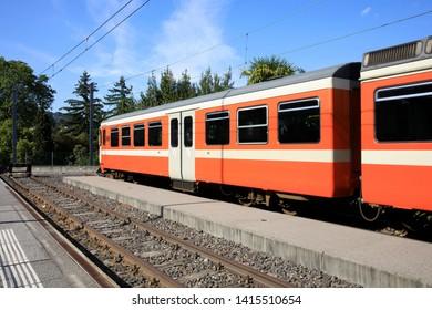Lugano / Switzerland - June 01, 2019: Lugano station area, Lugano, Switzerland, Europe