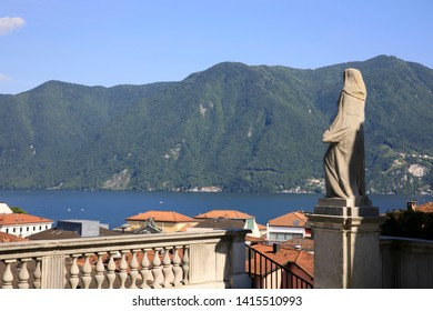 Lugano / Switzerland - June 01, 2019: Lugano lake view from San Lorenzo Church, Lugano, Switzerland, Europe