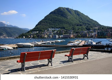Lugano / Switzerland - June 01, 2019: Lugano lake view, Lugano, Switzerland, Europe