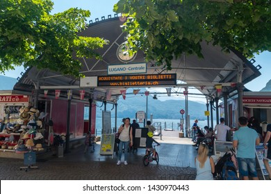 Lugano, Switzerland - June 1, 2019: Lugano - Centrale on the lake Lugano (Lago di Lugano).