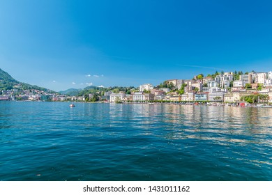 Lugano, Switzerland - June 1, 2019: The view of the Lugano from lake Lugano (Lago di Lugano).