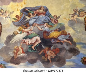 LUGANO, SWITZERLAND - JUNE 24, 2018: Assumption of the Virgin Mary, fresco of the vault of Marco Antonio Pozzi in the Saint Roch church in Lugano, Switzerland