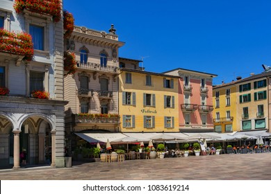 LUGANO, SWITZERLAND - JUNE 25, 2016: Street view of the center of the city of Lugano. Lugano is the largest city of Ticino canton.