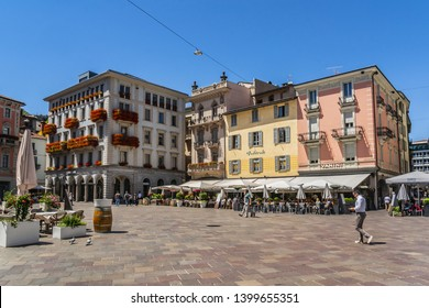 LUGANO, SWITZERLAND - JUNE 25, 2016: Street view of the center of the city of Lugano. Lugano is the largest city of Switzerland Ticino canton.