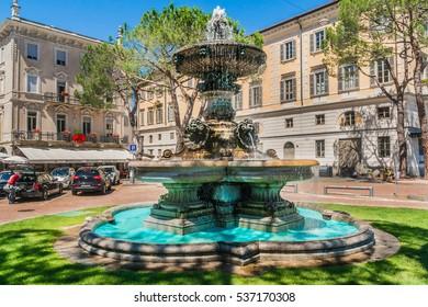LUGANO, SWITZERLAND - JUNE 25, 2016: Street view of the center of the city of Lugano. Lugano is the largest city of Ticino canton.