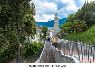 LUGANO, SWITZERLAND - MAY 11, 2018: Scenic view to the old town of Lugano, Canton of Ticino, Switzerland