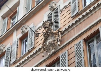 LUGANO, SWITZERLAND - MAY 12, 2018: This blazon is an architectural fragment on a facade of the old house in the center of the city.