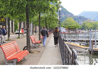 LUGANO, SWITZERLAND - MAY 12, 2018: This is the lake embankment in Lugano which is a place for walking along tke Lugano Lake.