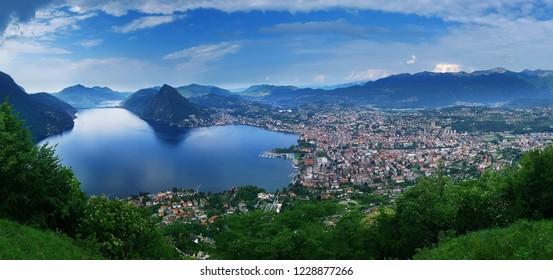 Lugano, Switzerland, May 12, 2018. Beautiful panoramic view of  Lugano city from Monte Brè Mountain.