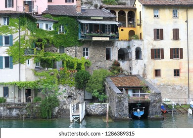 LUGANO, SWITZERLAND - MAY 12, 2018: These are the historic houses of the suburb of Lugano - Gandria.