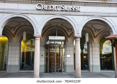 LUGANO, SWITZERLAND - NOVEMBER 27, 2017: Credit Suisse Group is a Swiss multinational financial services holding company that operates the Credit Suisse Bank and other financial services investments.