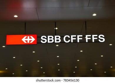 LUGANO, SWITZERLAND - NOVEMBER 27, 2017: night view of the sign of Swiss Federal Railways in Lugano, Switzerland