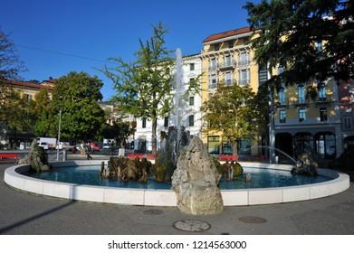 Lugano, Switzerland - October 19, 2018: Lugano main square, the center of lugano
