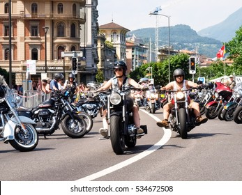 Lugano, Switzerland-July 04, 2015: Swiss harley days. third edition of this National meeting where come together may bykers from the Swiss Country and Europe.