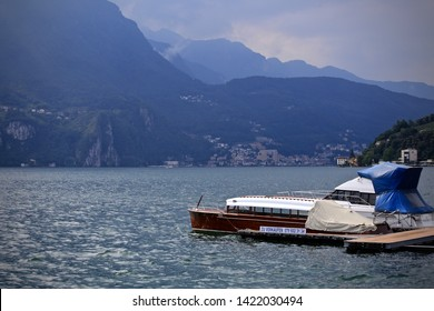 Lugano, Switzerland-June 17, 2014: Boat on the lake Lugano.