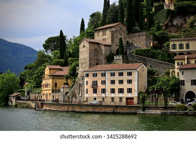 Lugano, Switzerland-June 17, 2014: Buildings on the shores of Lake Lugano.