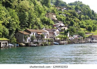 LUGANO, SWIZERLAND - MAY 12, 2018: It is a small village of Grotto San Rocco on Lake Lugano in the Italian canton of Ticino.