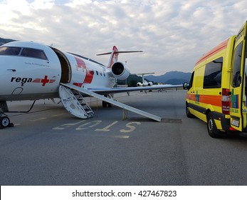 Lugano, Ticino/Switzerland - May 26, 2016: REGA Canadair 640 air ambulance just arrived from Sardegna at Lugano airport for an emergency patient transfer