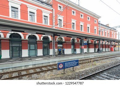 Lugano/Switzerland - August 24 2015: The train station in Lugano. Lugano is a city in southern Switzerland in the Italian-speaking canton of Ticino bordering Italy.