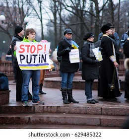 LUGANSK / LUHANSK, UKRAINE - APRIL 5, 2014: pro-Ukrainian activists, holding rallies in front of Russian aggression in Ukraine at the rally.