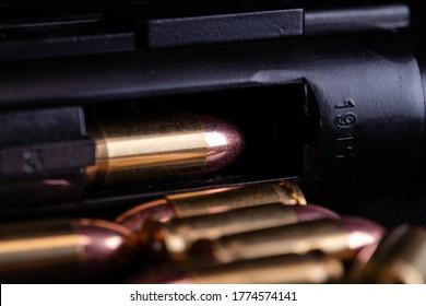 Luger pistol 9mm black backgroumd