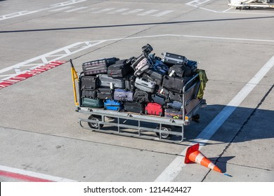 Luggage cart full with baggage at the airport