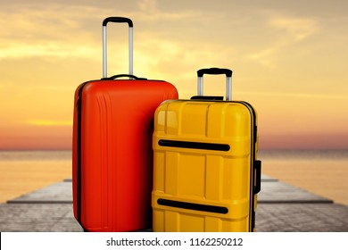 Luggage consisting of large polycarbonate suitcases isolated