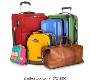 Luggage consisting of large suitcases, rucksack and travel bag isolated on white background