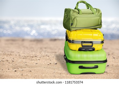Luggage consisting of three polycarbonate suitcases isolated